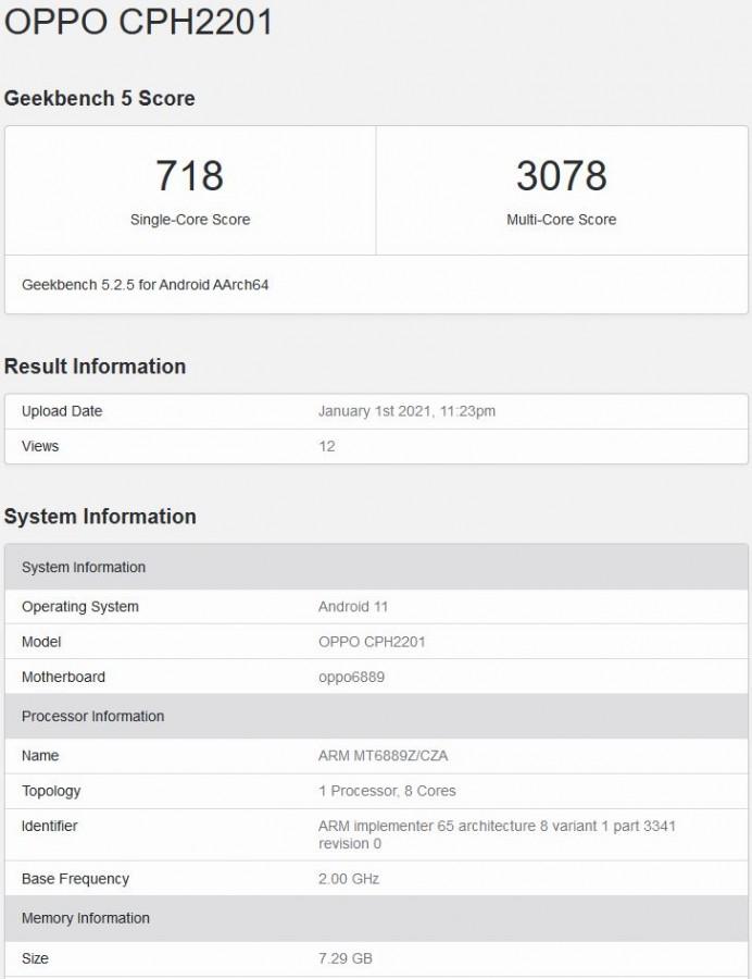 Oppo Reno5 Pro 5G Geekbench